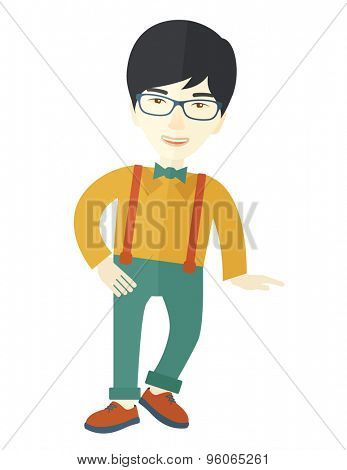 A Portrait of confident asian supervisor. A Contemporary style. Vector flat design illustration isolated white background. Vertical layout