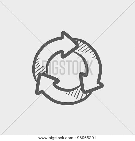 Arrow circle sketch icon for web and mobile. Hand drawn vector dark grey icon on light grey background.