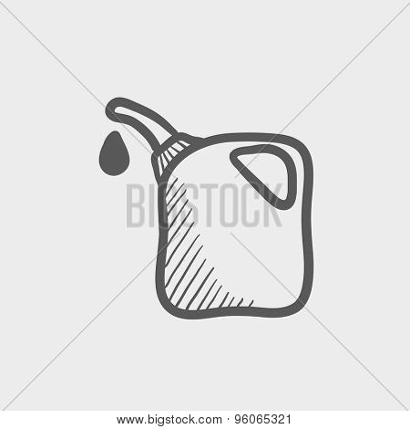 Gas pump nozzle sketch icon for web and mobile. Hand drawn vector dark grey icon on light grey background.