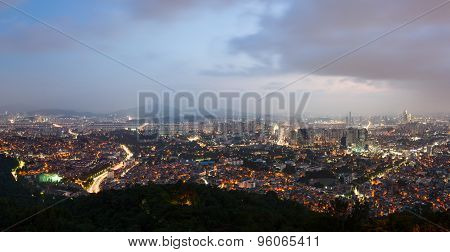 Panoramic night view of Seoul city from the Namsan Mountain