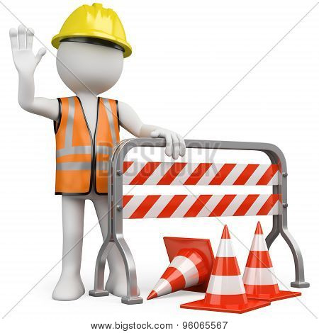 Worker with a reflective vest and hard hat leaning on a construction barrier