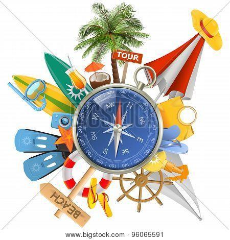 Vector Beach Concept With Compass