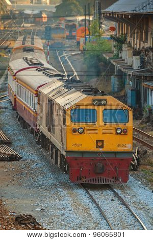 Old Diesel Locomotives and Trains in Bangkok, Thailand
