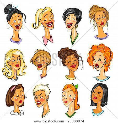 Female faces - set of Expressions.