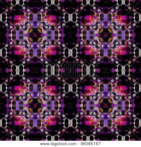 Seamless floral pattern black purple