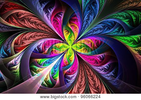 Diagonal Symmetric Multicolor Fractal Tracery. Collection - Frosty Pattern. On Black.