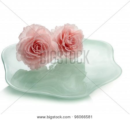 Two Roses On Plate