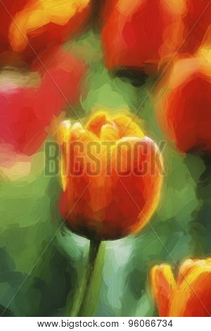 Impressionist Art Of Tulips