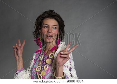 Studio portrait of a brunette woman