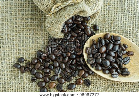 Coffee Bean Scatter From A Jute Bag