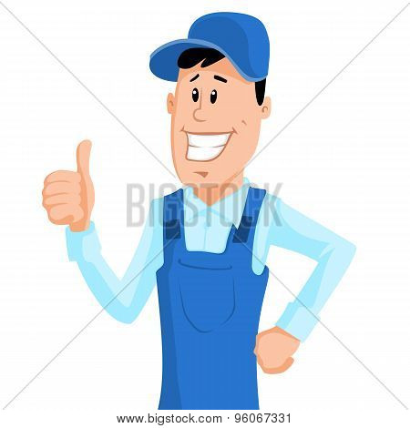 Worker In Blue Workwear Show Thumb Up