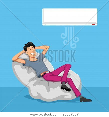 Happy Man Relax With Air-conditioner