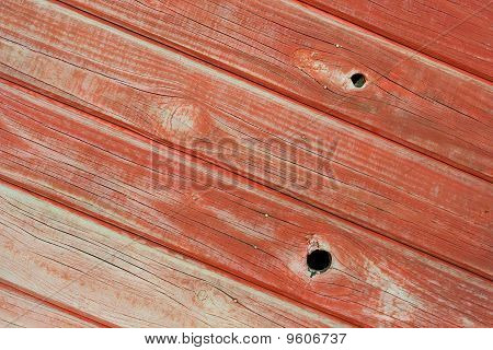 Pine Wood Panelling Painted Red