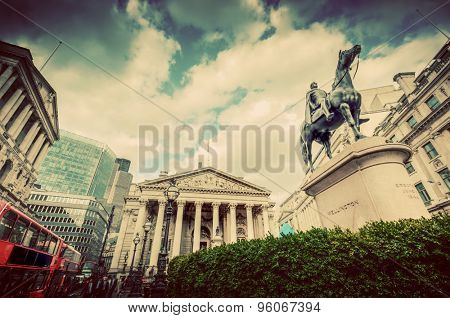 Bank of England, the Royal Exchange in London, the UK. Financial and business heart. Retro, vintage