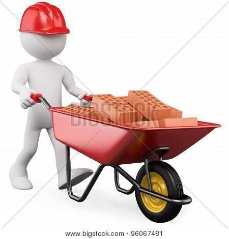 3d people icon with bricks in wheelbarrow- This is a 3d render illustration