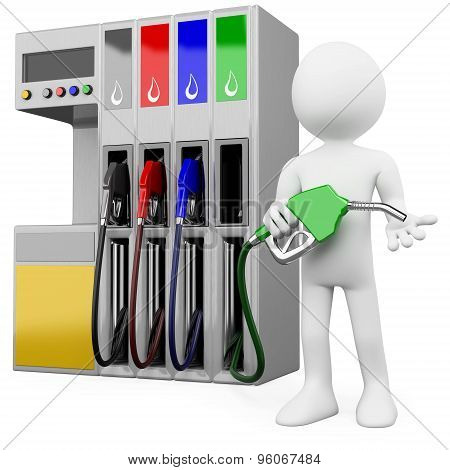 3D worker at a gas station with a petrol pump. Rendered at high resolution on a white background wit
