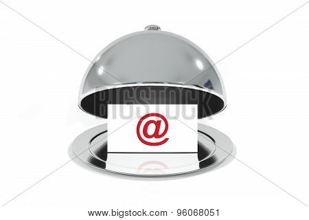 Silver Cloche With White Sign Email Web Symbol