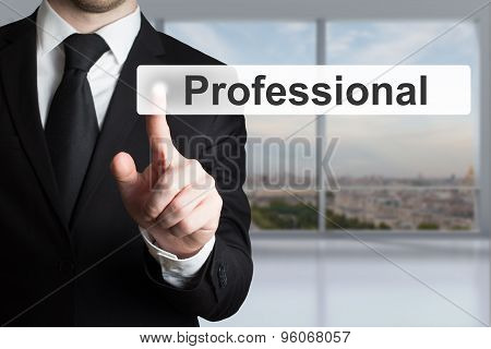Businessman Pushing Touchscreen Button Professional Support