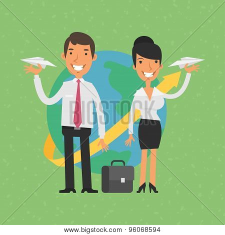 Businessman and businesswoman holding paper airplanes