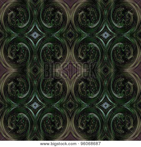 Seamless dark spiral pattern green brown