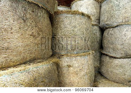 Stacked Circular Hay Bale Texture