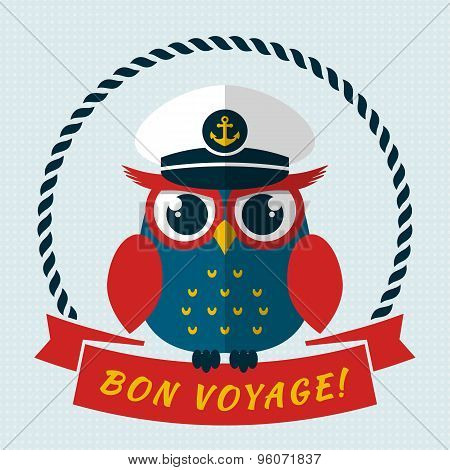 Bon Voyage! Vector Card With Owl.