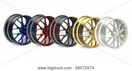 Row From Colored Car Rims