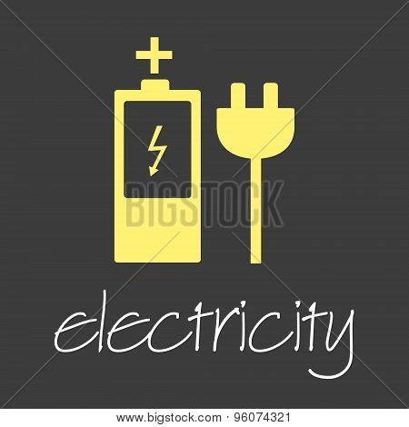 Electricity Symbol And Icon Simple Banner Eps10