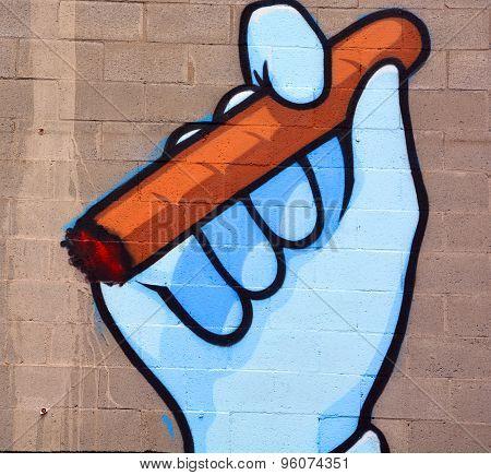 Street art Montreal cigar.