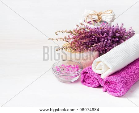 Spa Concept. Flower, Sea Salt, Towels