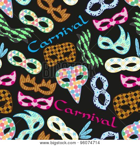 Carnival Rio Colorful Pattern Masks Design Seamless Dark Pattern Eps10