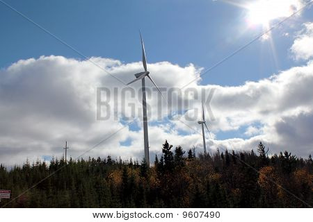 Windmills on Wooded Mountaintop in Maine