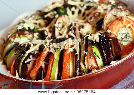 Baked Sliced Vegetables With Cheese