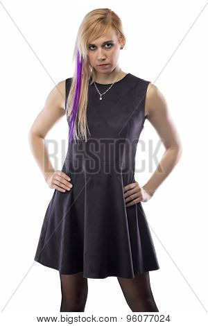 Photo woman in artificial suede dress, chin down