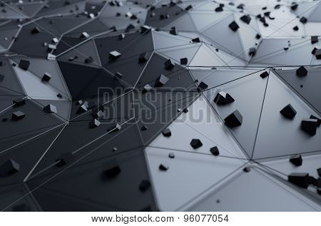 Abstract 3d rendering of surface with chaotic cubes.