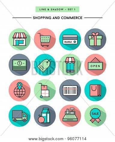 Set Of Flat Design,long Shadow, Thin Line Shopping And Commerce Icons