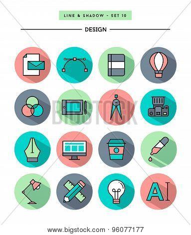 Set Of Flat Design,long Shadow, Thin Line Designer's Tools Icons