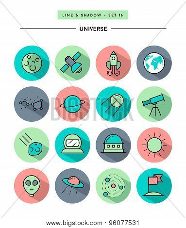 Set Of Flat Design,long Shadow, Thin Line Universe Icons