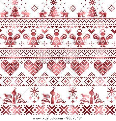 Scandinavian Nordic Cross Stitch Pattern With Angels, Xmas Trees, Rabbits, Snowflakes, Candles