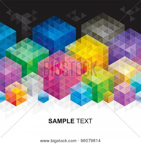 Abstract geometric colors cube background.