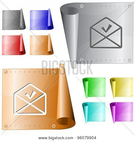 mail ok. Vector metal surface.