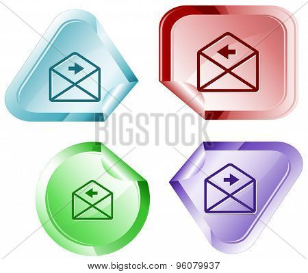 mail right arrow. Vector sticker.