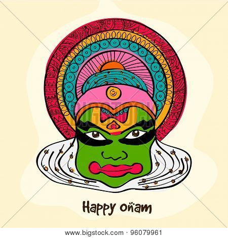 Illustration of kathakali dancer face on yellow background for South Indian festival, Happy Onam celebration.
