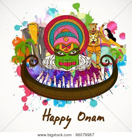 Illustration of South Indian culture and tradition on colorful splash background for Happy Onam festival celebration.