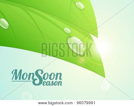 Fresh green leaf with water drop on shiny background for Monsoon Season concept.