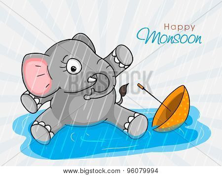 Cute little elephant sitting in water with umbrella on rays background for Happy Monsoon.