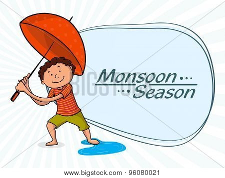 Cute little boy holding red umbrella on rays background for Monsoon Season.