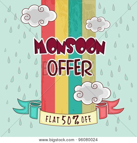 Monsoon Offer with fat 50% discount, Vintage poster or banner design decorated with clouds and raindrops.