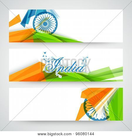 Creative website header or banner set decorated with Ashoka Wheel and national flag color abstract design for Indian Independence Day celebration.