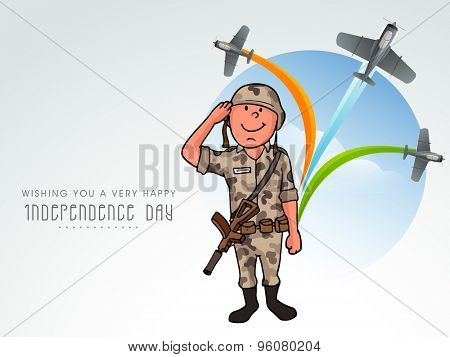 Saluting army officer with flying airplane making national tricolors in the sky for Indian Independence Day celebration.